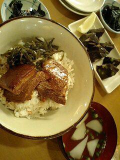 ラフティ丼定食&どぅる天と中村屋デザート